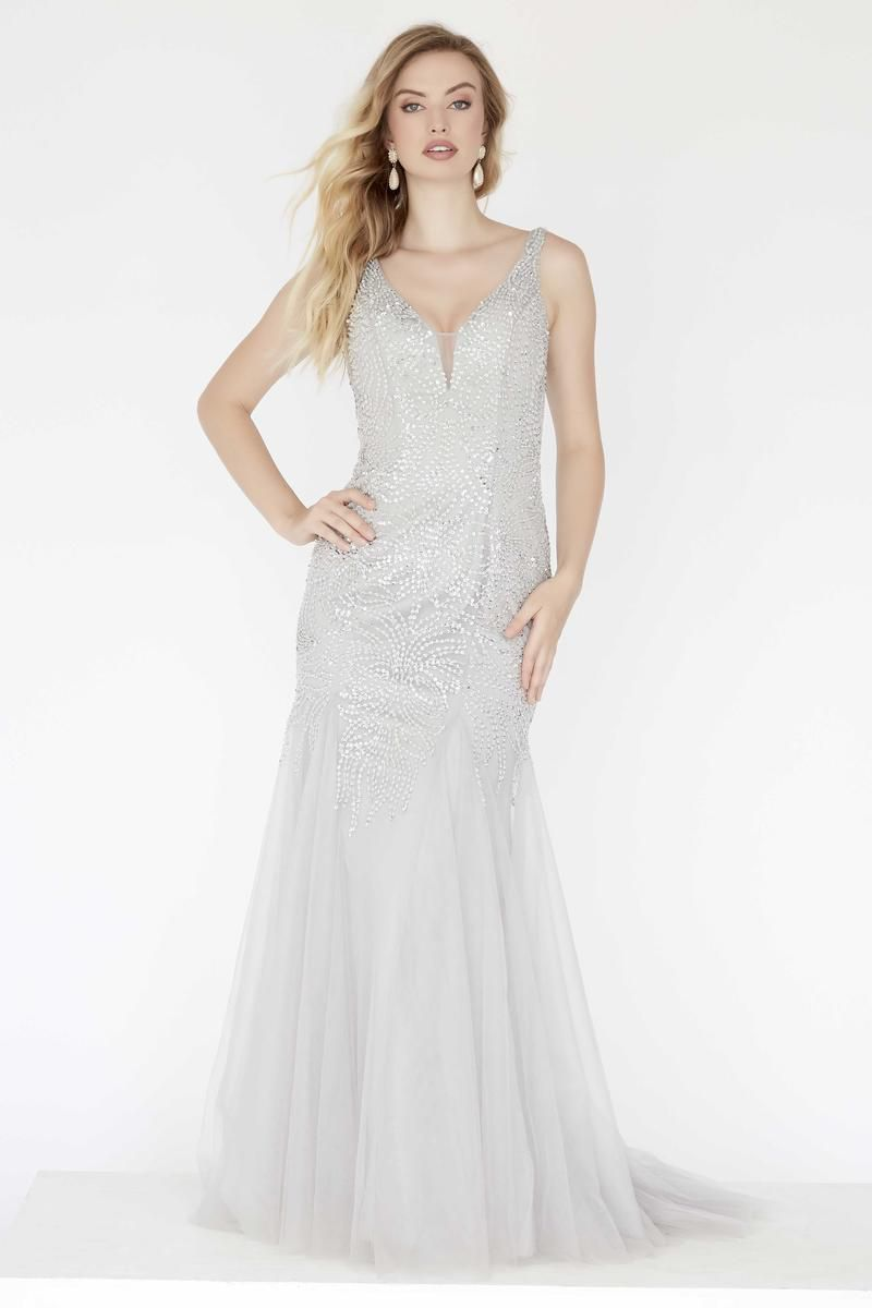 Style 18065 Jolene Silver Size 10 Pageant Tulle Tall Height Mermaid Dress on Queenly