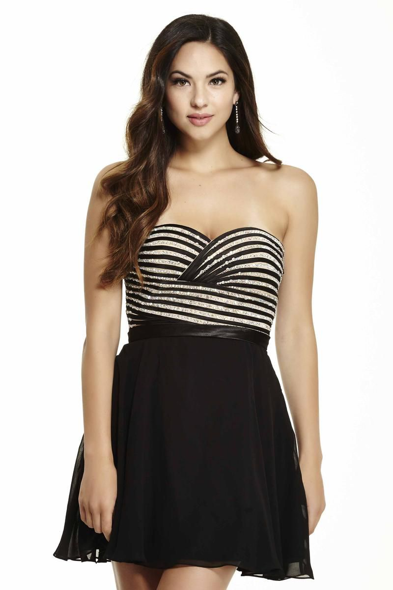 Style 16527 Jolene Black Size 8 Nude Sorority Formal Tall Height Cocktail Dress on Queenly