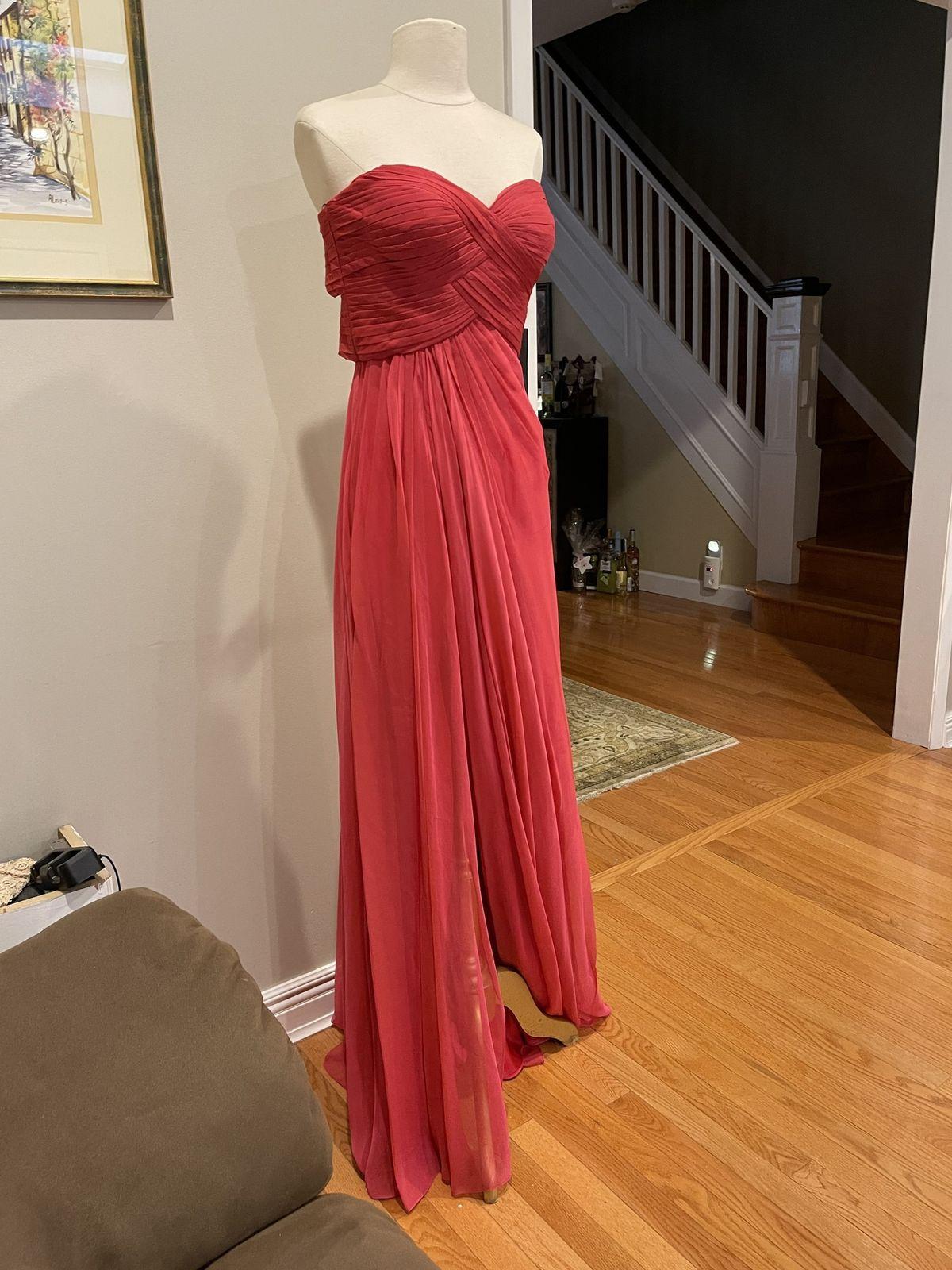 La Femme Red Size 6 Tulle Sweetheart Wedding Guest Side slit Dress on Queenly