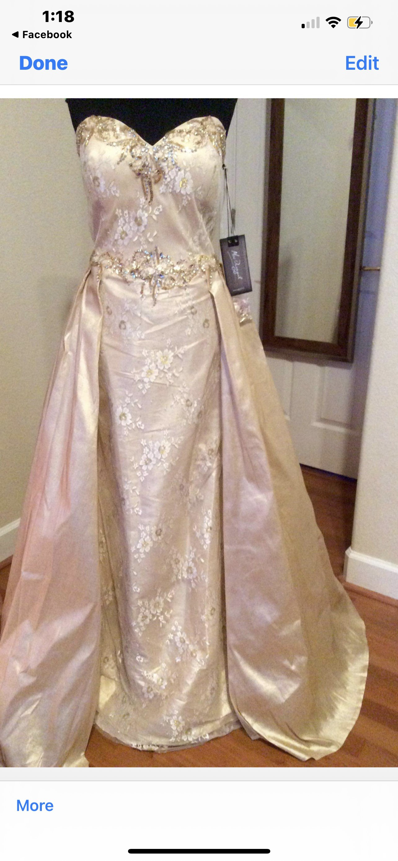MacDuggal Gold Size 16 Overskirt Pageant Plus Size A-line Dress on Queenly