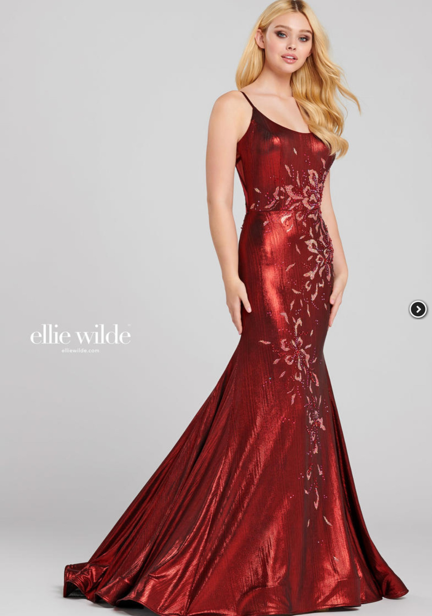 Ellie Wilde Red Size 0 Prom Mini Train Mermaid Dress on Queenly
