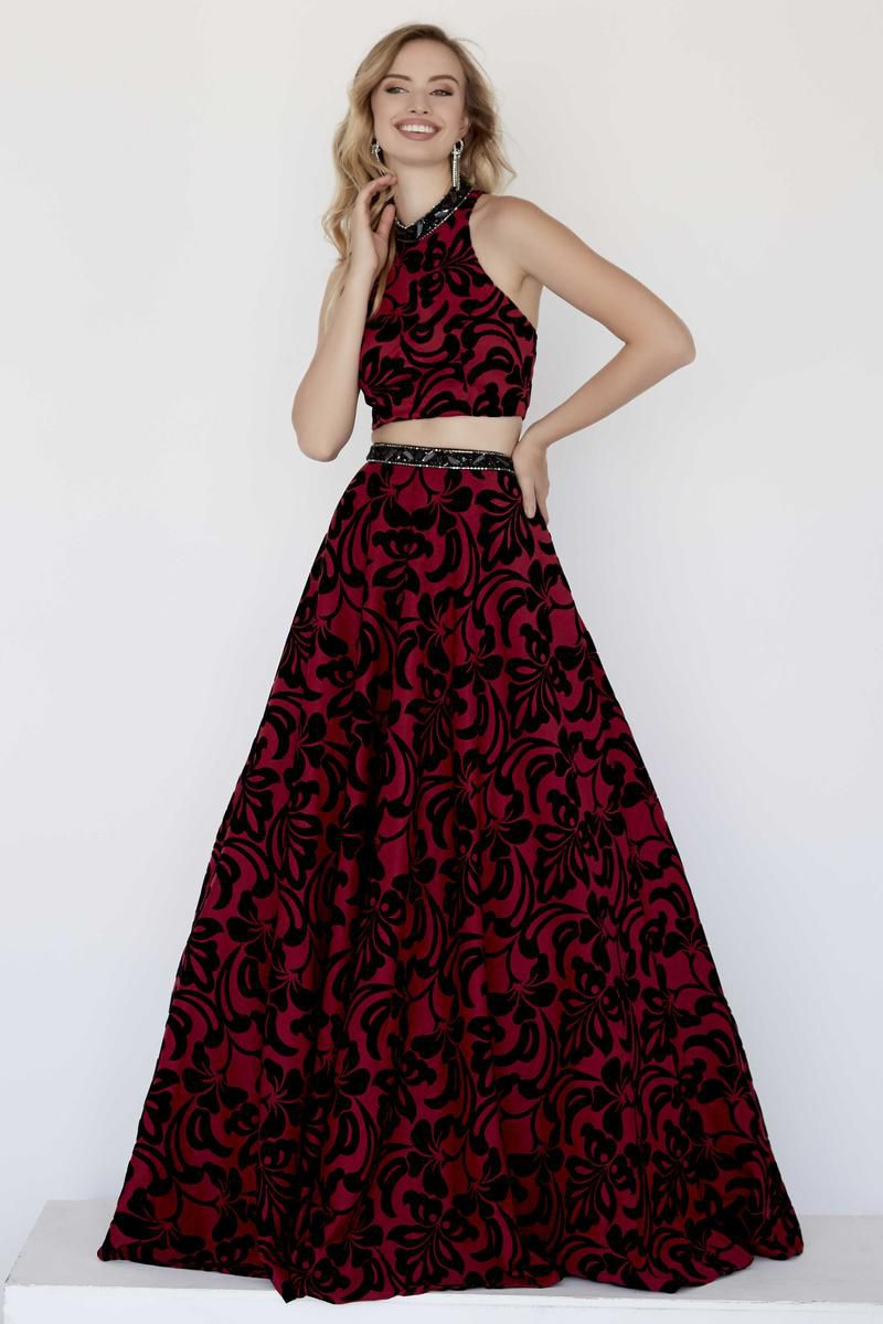 Style 18072 Jolene Red Size 8 Pageant Halter Tall Height Ball gown on Queenly