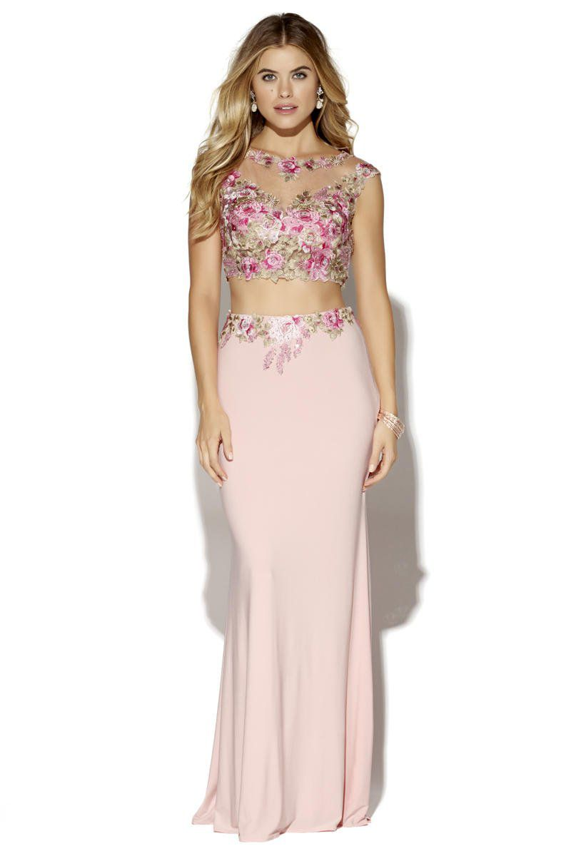 Style 16002 Jolene Light Pink Size 2 Cap Sleeve Floral Tall Height Mermaid Dress on Queenly