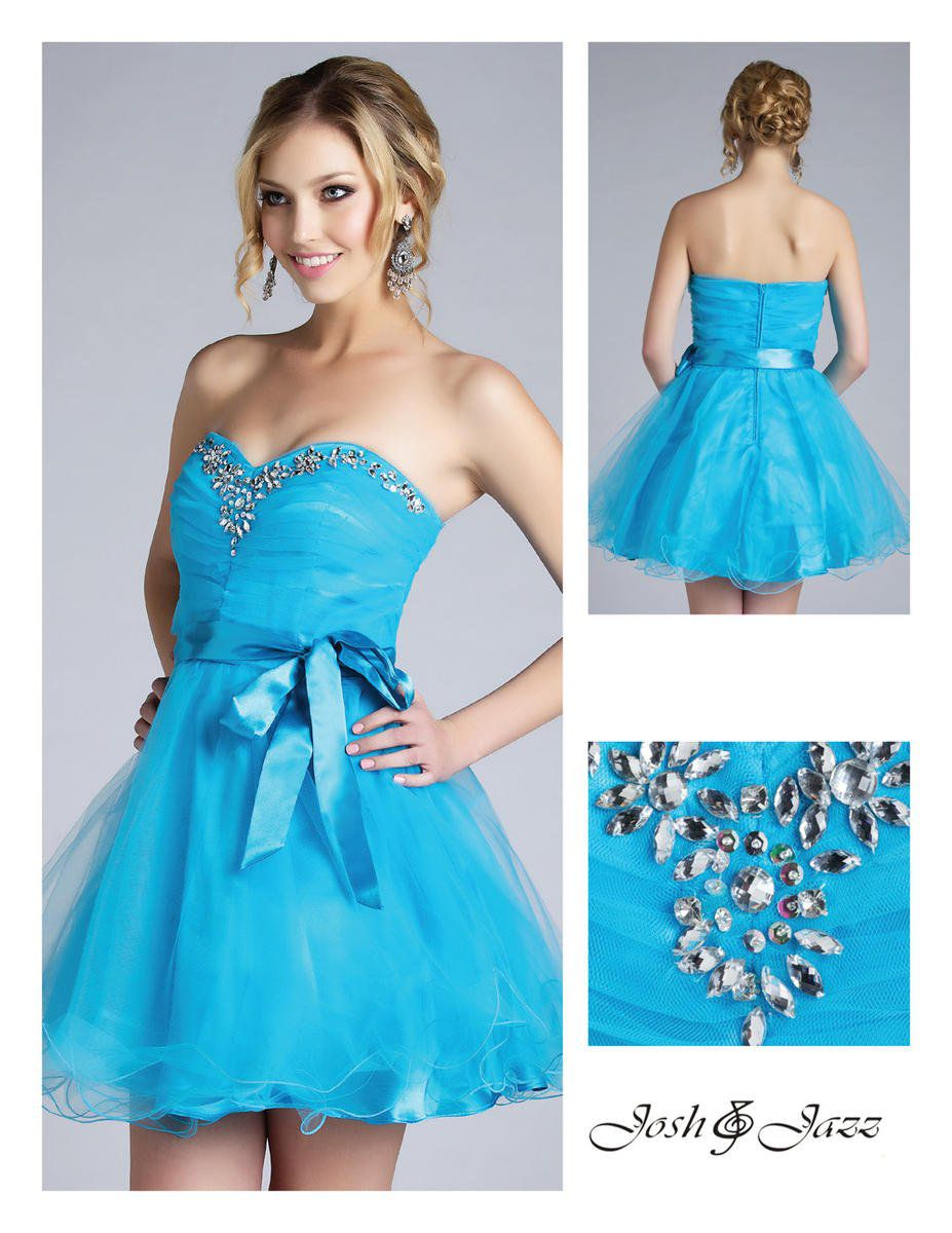 Style 310930 Jolene Blue Size 4 Flare Cocktail Dress on Queenly