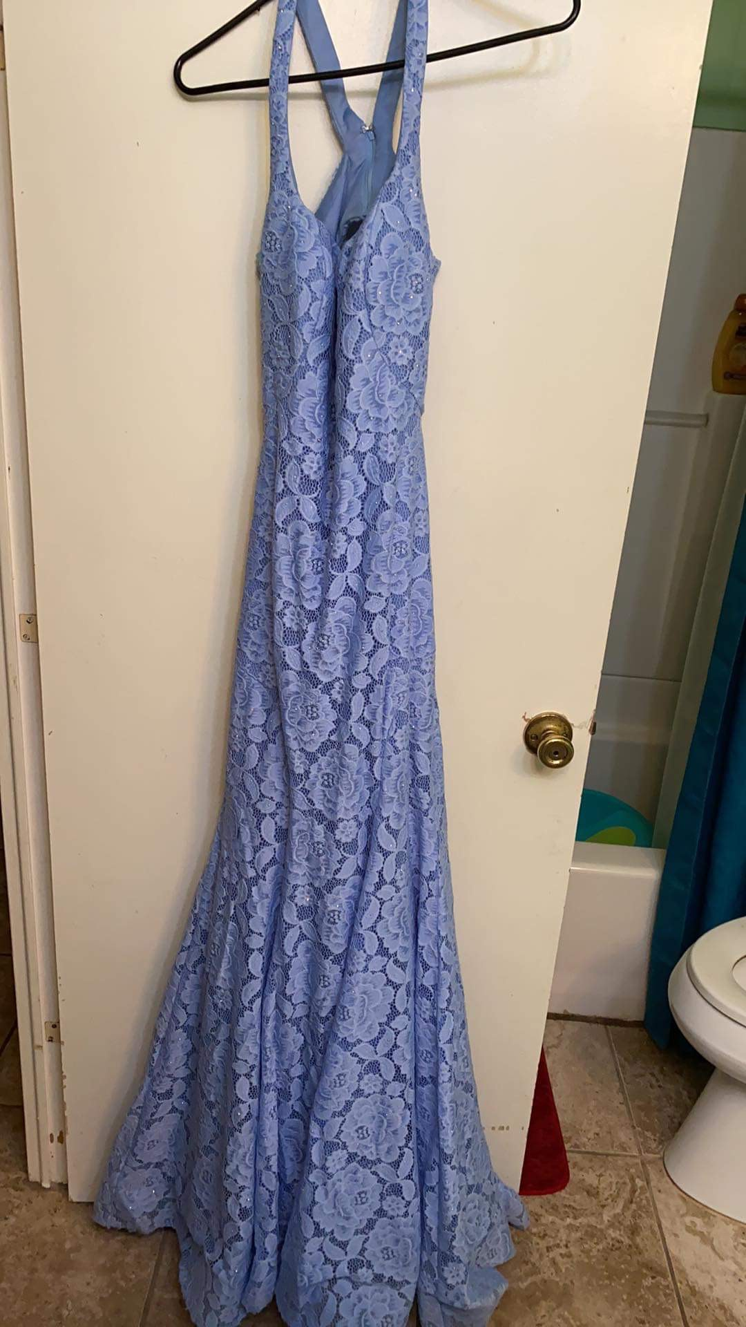 La Femme Blue Size 10 Tall Height Lace Mermaid Dress on Queenly