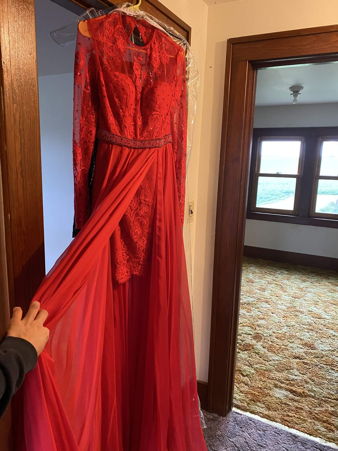 Sherri Hill Red Size 2 Long Sleeve Sleeves Pageant Straight Dress on Queenly