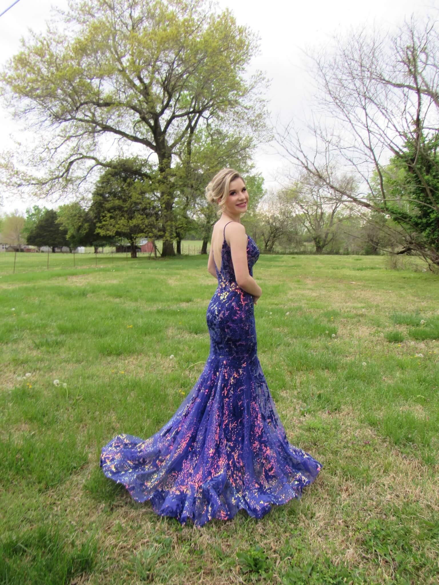 Ellie Wilde Purple Size 0 Jewelled Train Lace Mermaid Dress on Queenly