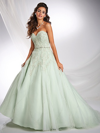 Style 242 Alfred Angelo Green Size 6 Quinceanera Corset Tall Height Train Dress on Queenly