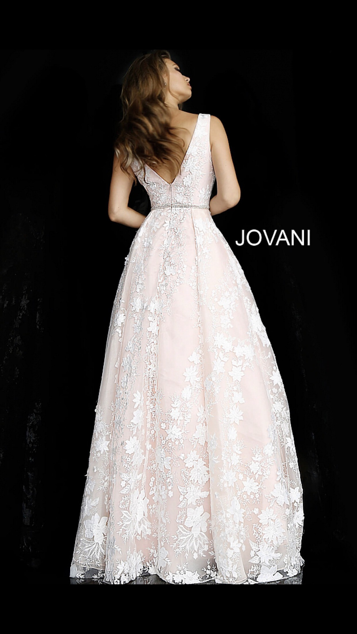 Jovani Pink Size 4 Sheer V Neck Fitted Train Dress on Queenly