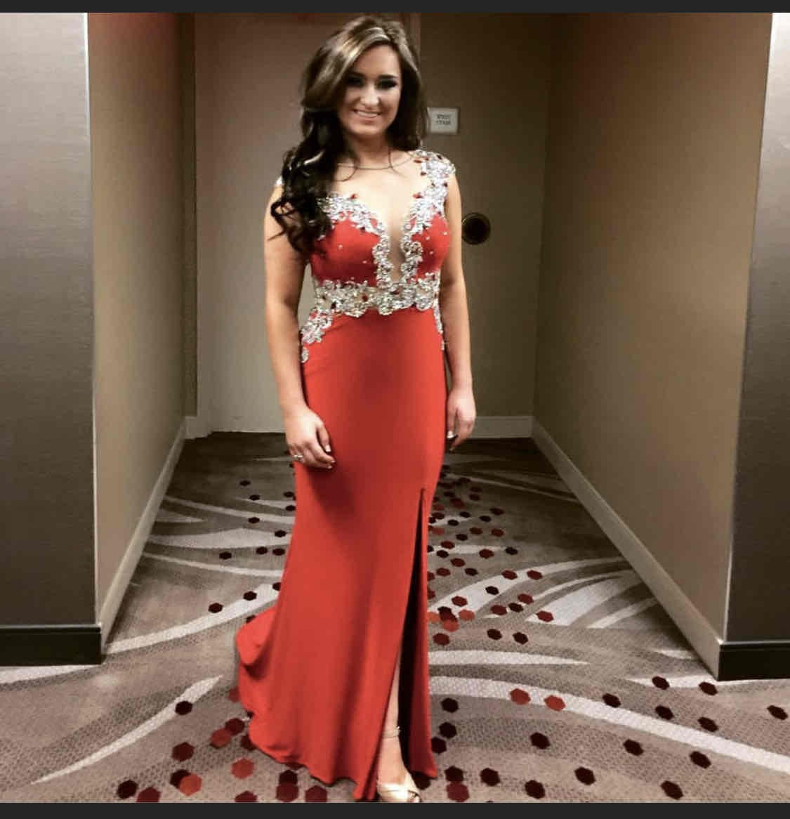 Rachel Allan Red Size 4 Train Straight Dress on Queenly