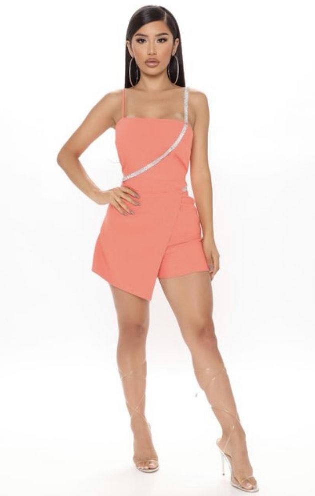 Fashion Nova Orange Size 4 Nightclub Sorority Formal Jumpsuit Dress on Queenly