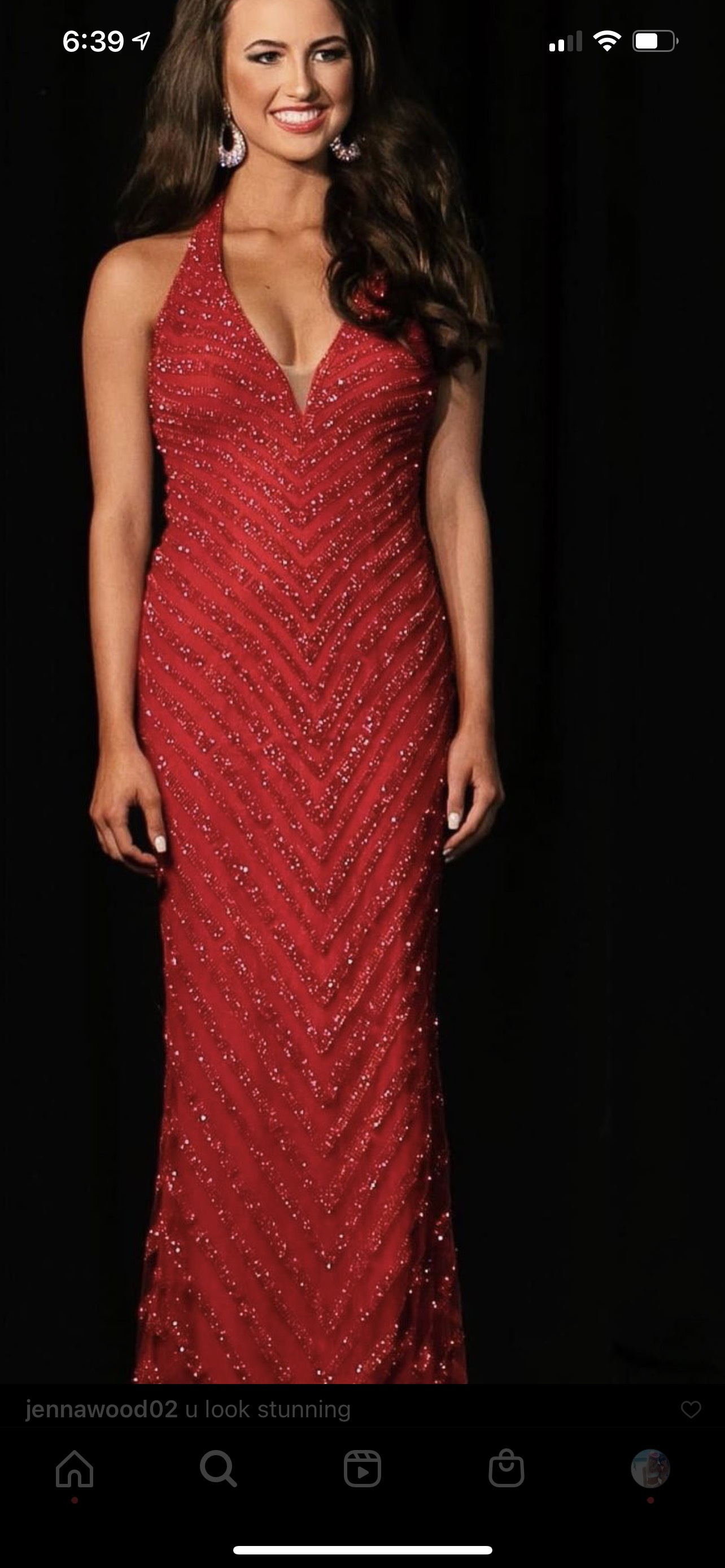 Jovani Red Size 0 Pageant Halter Tall Height A-line Dress on Queenly