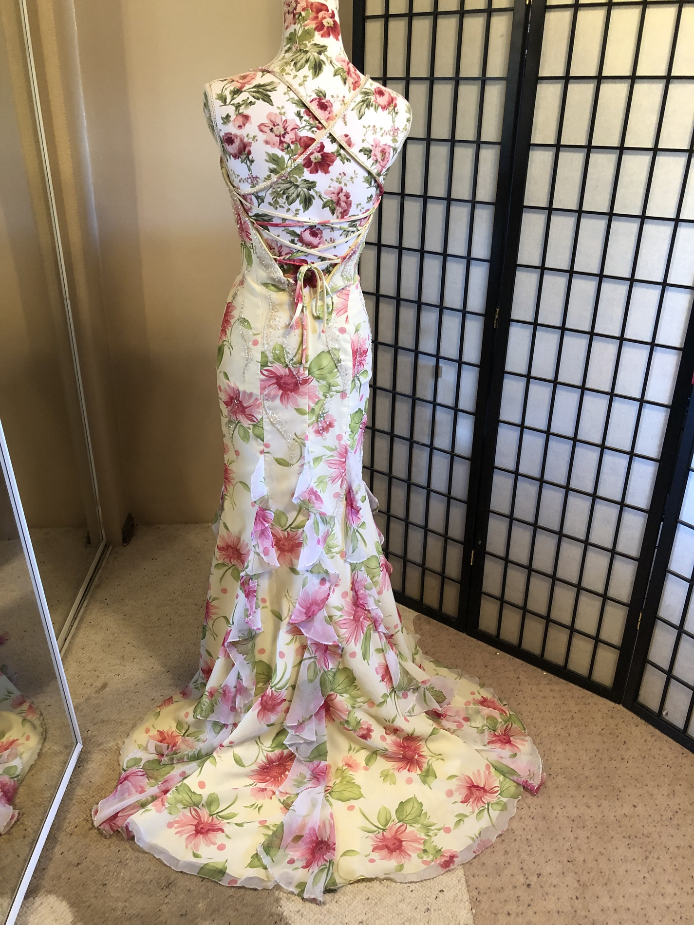 Tiffany Designs Yellow Size 2 Prom Floral Wedding Guest Mermaid Dress on Queenly