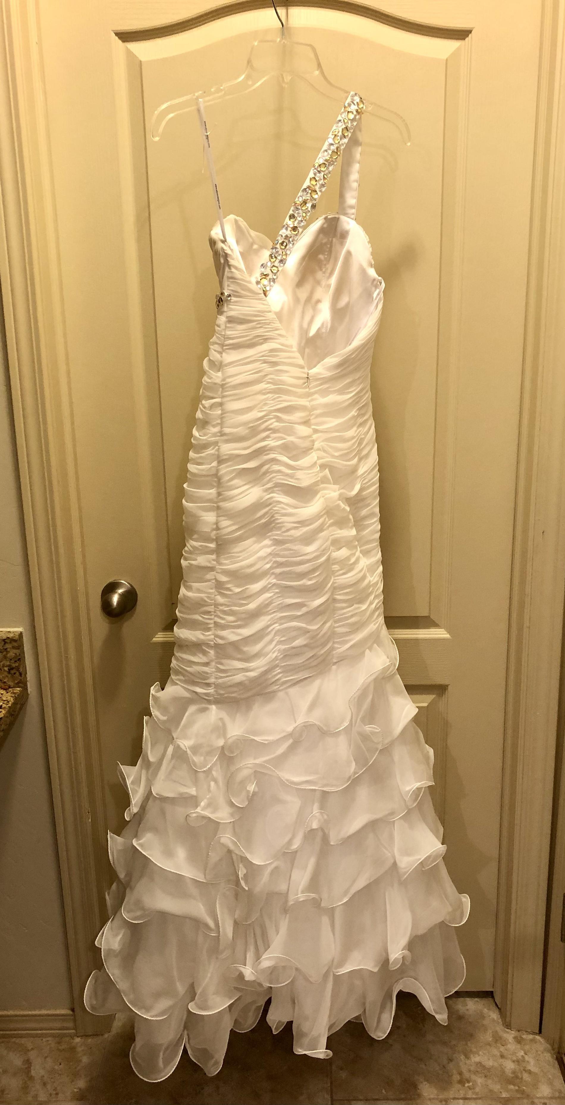 Alyce Paris White Size 4 Ruffles Wedding One Shoulder Jewelled Mermaid Dress on Queenly