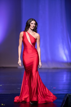 Nicole Bakti Red Size 2 One Shoulder Pageant A-line Dress on Queenly