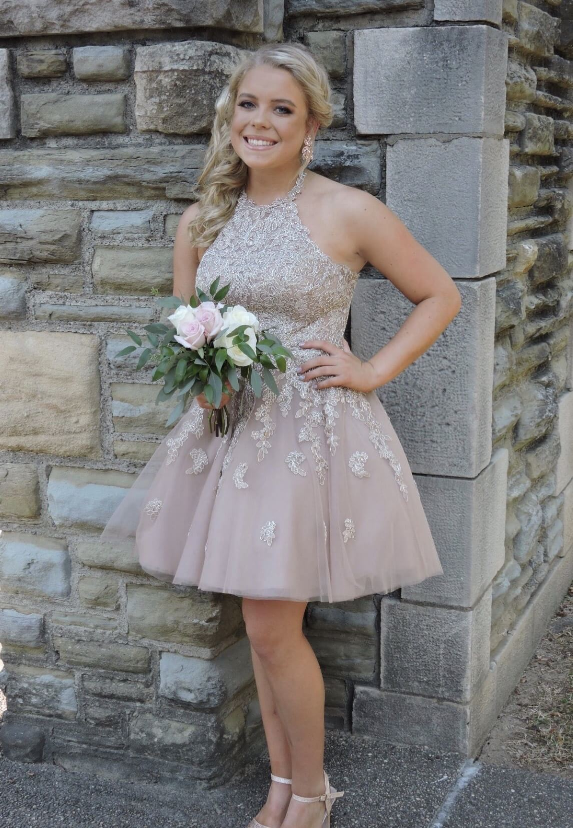 Sherri Hill Pink Size 4 Flare Halter Wedding Guest Ball gown on Queenly