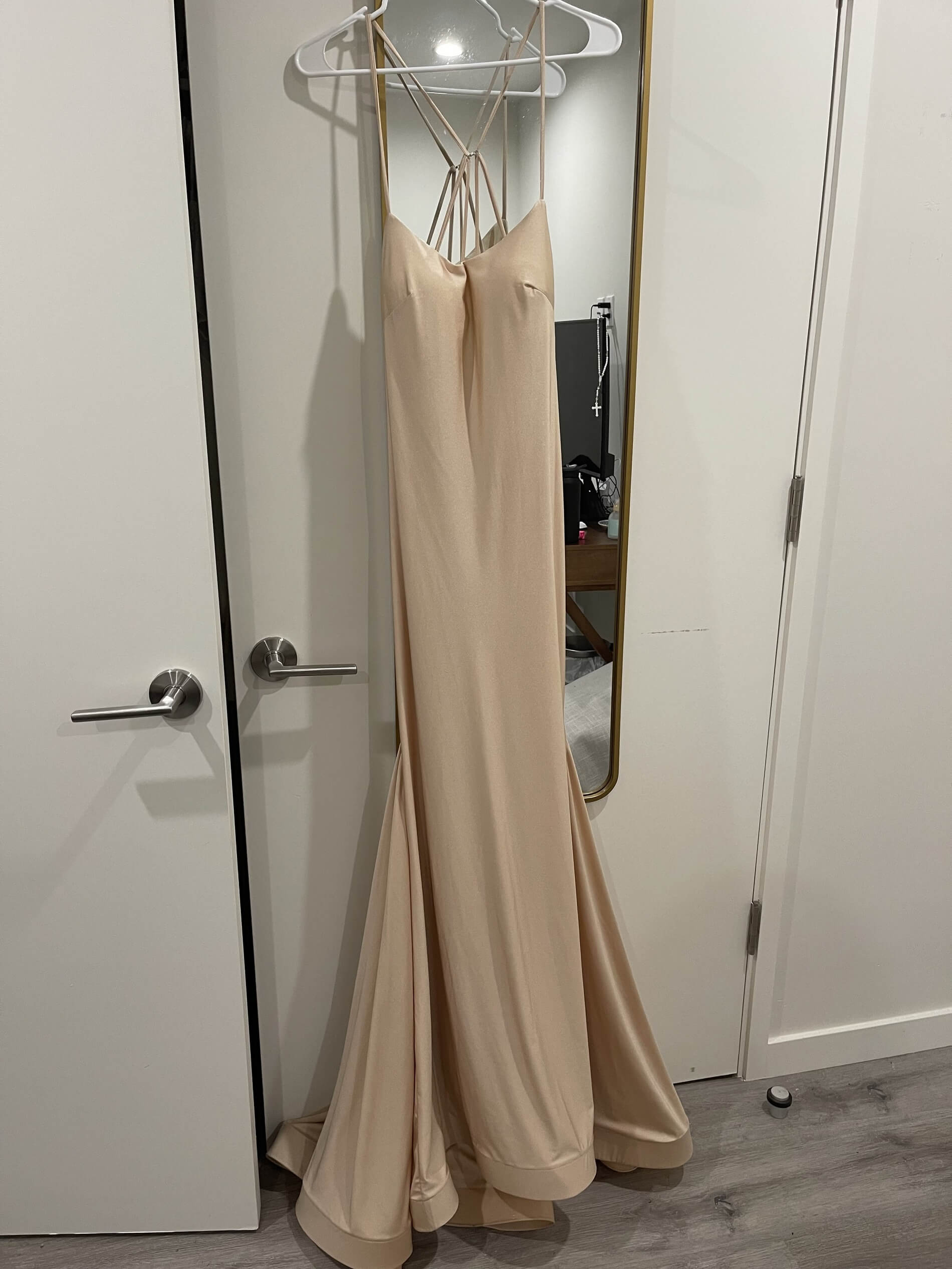 Intrigue Gold Size 12 Wedding Guest Sorority Formal Mermaid Dress on Queenly
