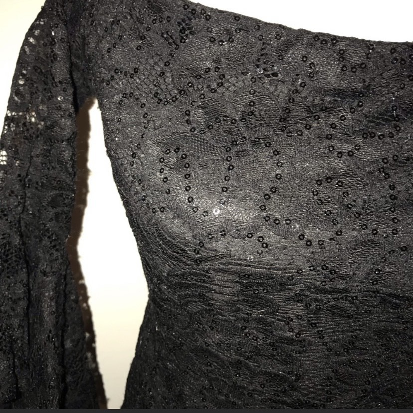 Macy's Teeze Me Black Size 4 Short Height Sheer Cocktail Dress on Queenly