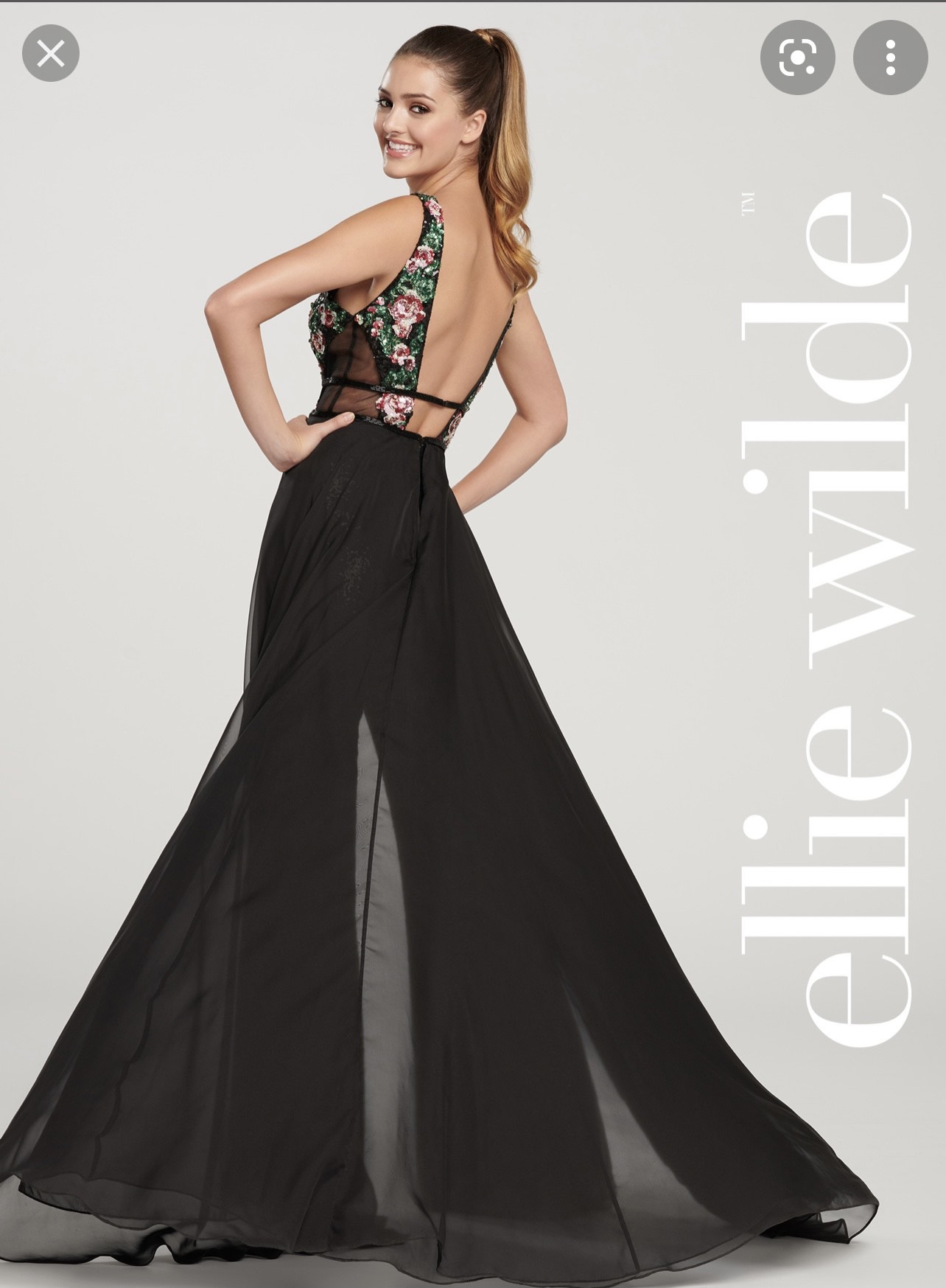 Ellie Wilde Black Size 4 Overskirt Pageant Sheer Jumpsuit Dress on Queenly