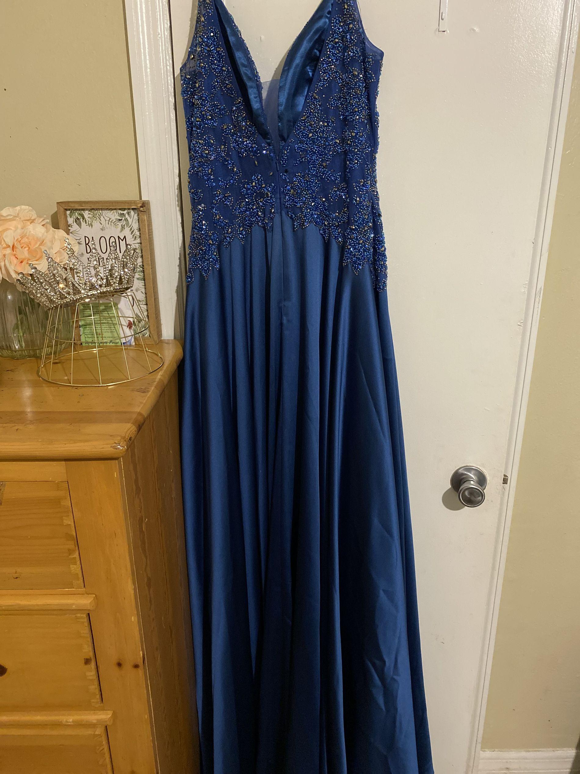 Jovani Blue Size 12 Plus Size Train A-line Dress on Queenly