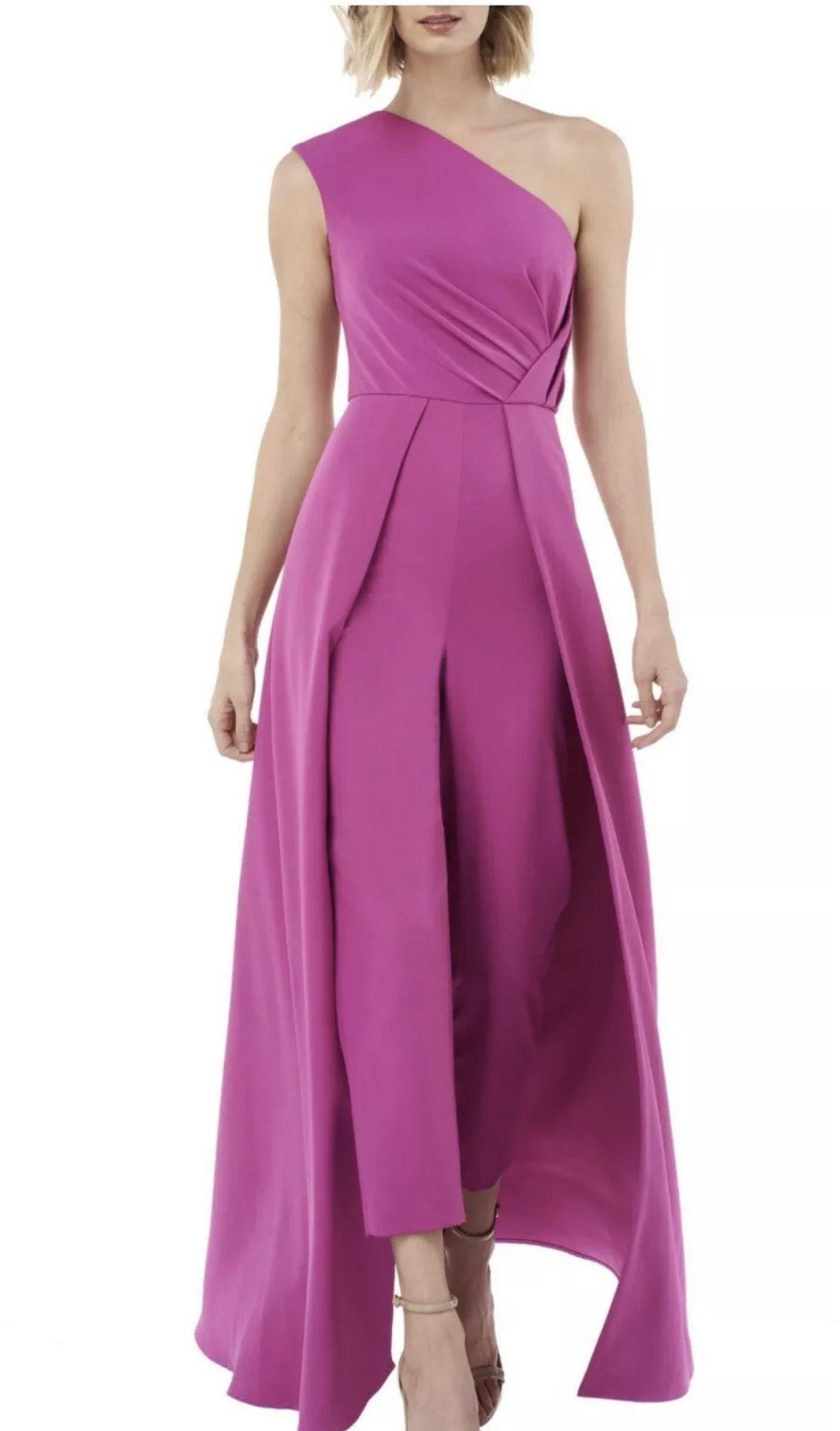 Kay Unger Pink Size 10 One Shoulder Jumpsuit Dress on Queenly