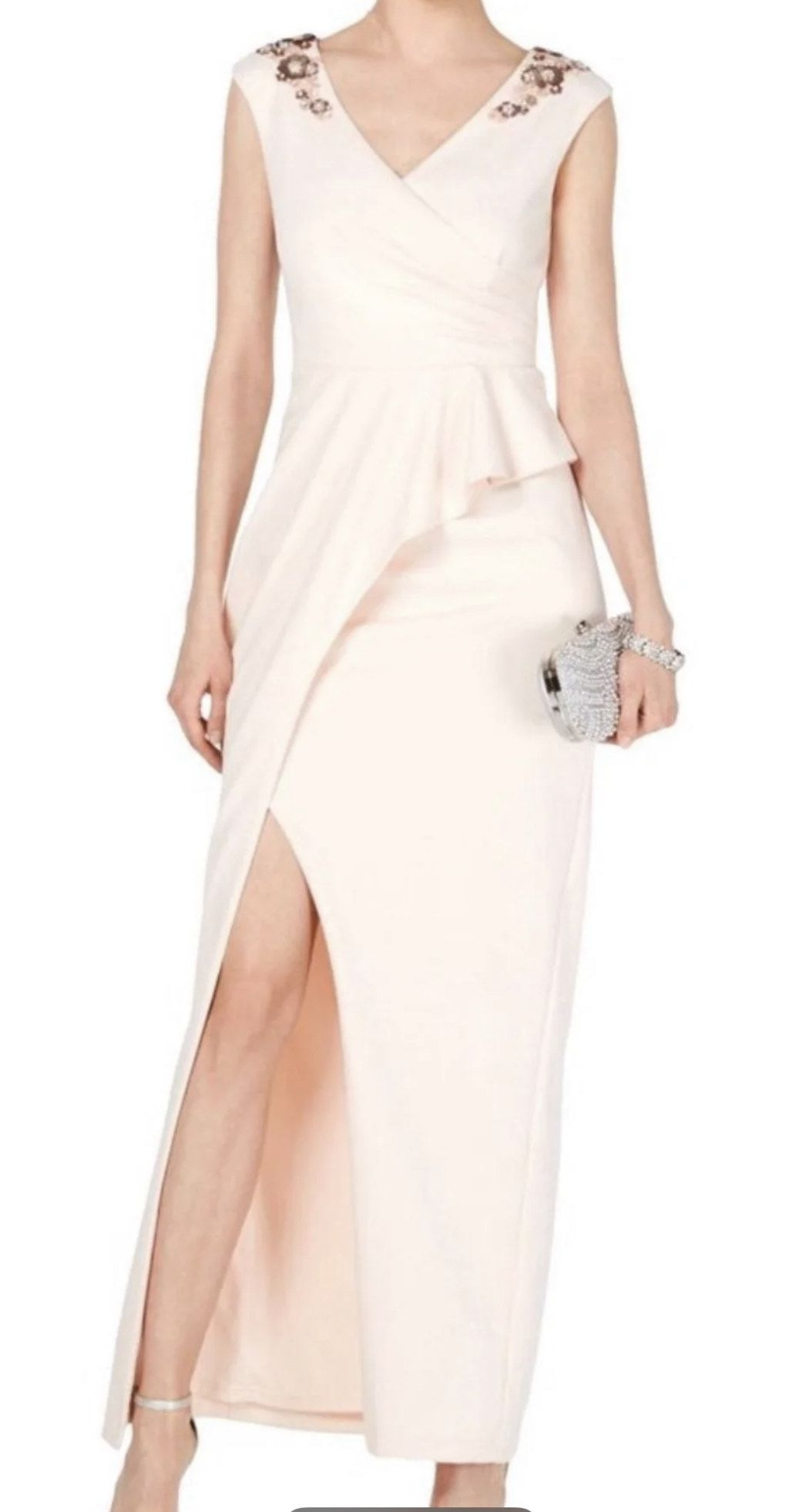 Adrianna Papell Embellished Peplum Gown Pink Size 10 Side Slit Short Height Straight Dress on Queenly