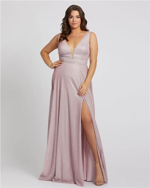 Style 49043 Mac Duggal Purple Size 24 Tall Height Side slit Dress on Queenly