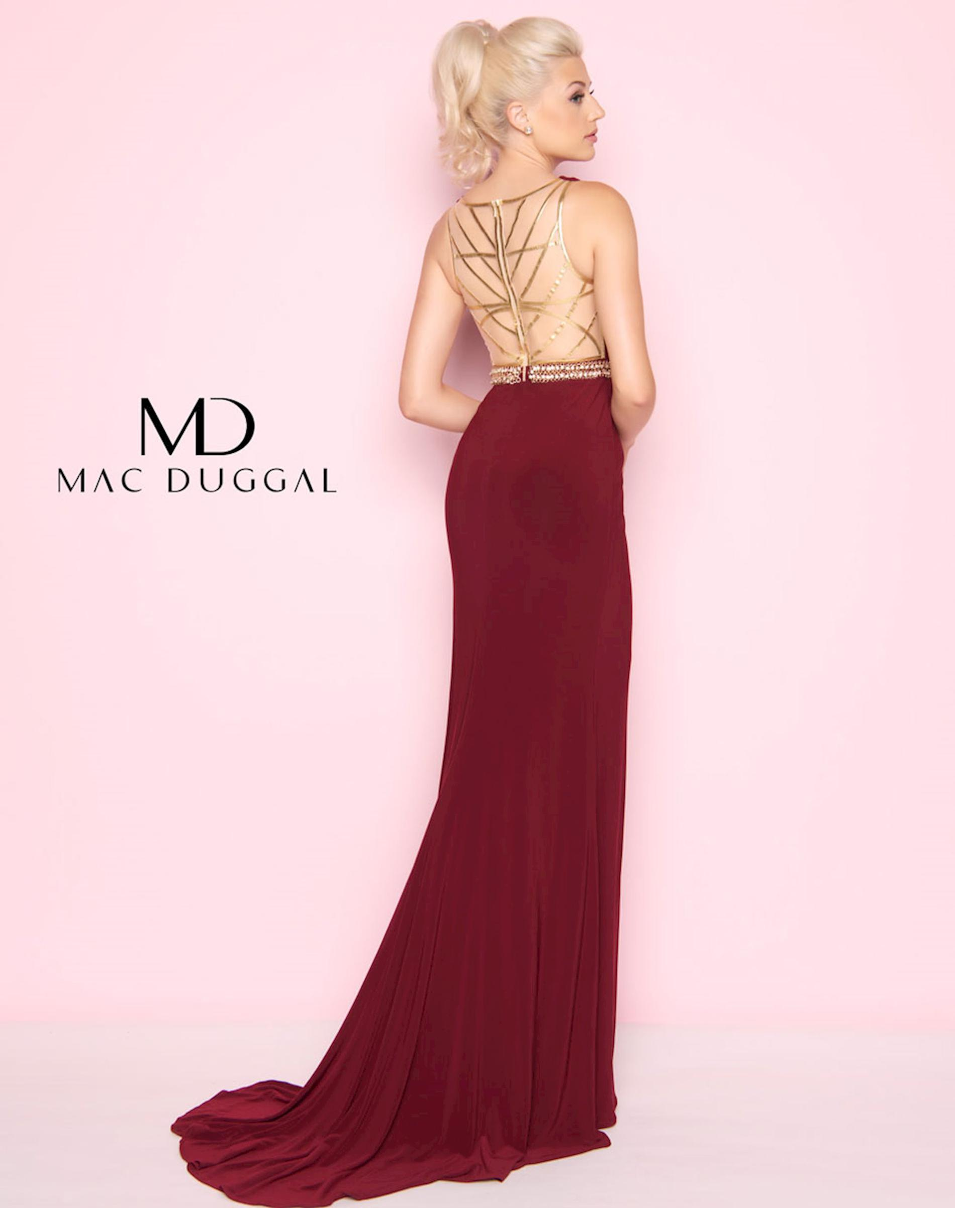 Style 2012 Mac Duggal Red Size 18 Sorority Formal Tall Height Wedding Guest Side slit Dress on Queenly