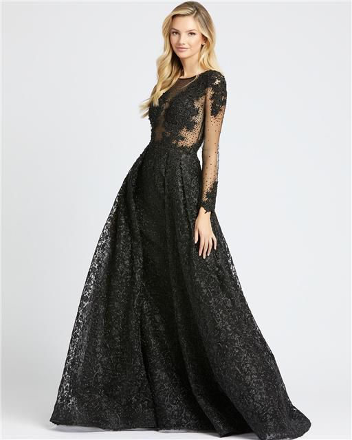 Style 20100 Mac Duggal Black Size 12 Tall Height Sheer Lace Ball gown on Queenly