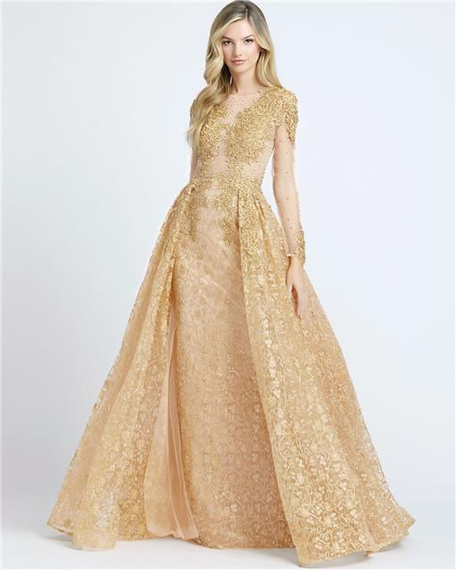 Style 20100 Mac Duggal Gold Size 12 Tall Height Sheer Lace Ball gown on Queenly