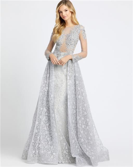 Style 20100 Mac Duggal Silver Size 10 Tall Height Sheer Lace Ball gown on Queenly