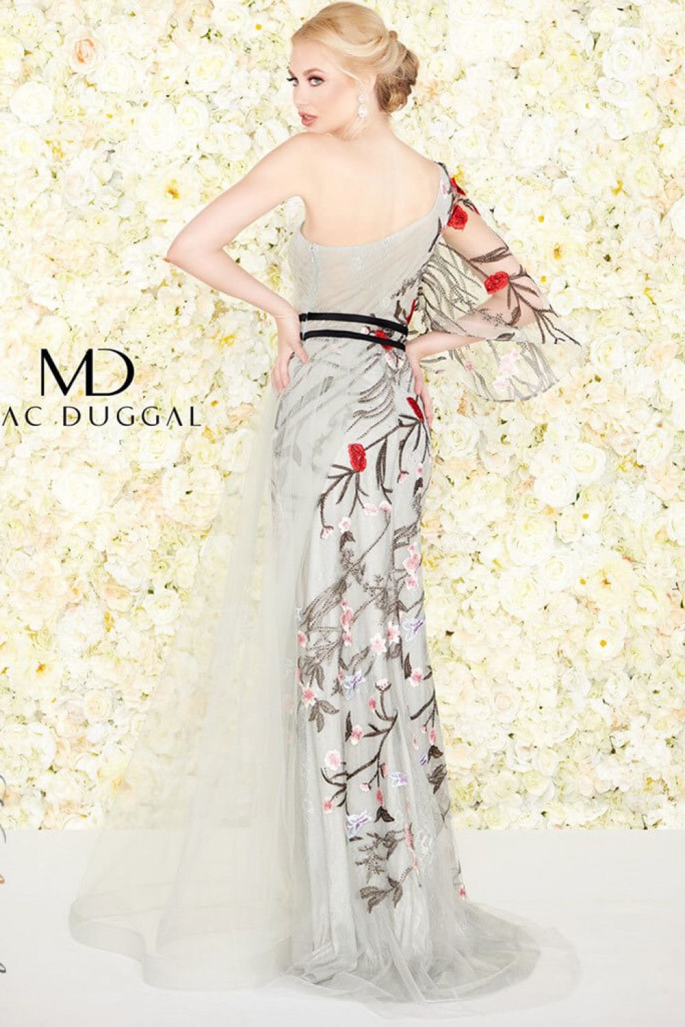 Style 20124 Mac Duggal Multicolor Size 12 One Shoulder Tall Height Wedding Guest A-line Dress on Queenly