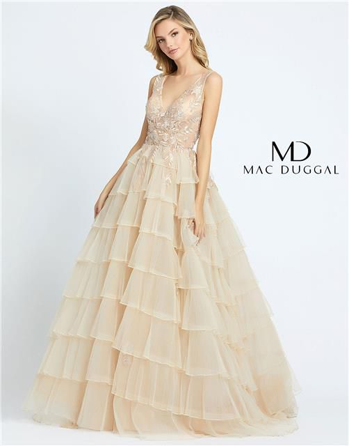 Style 20136 Mac Duggal Gold Size 12 Quinceanera Backless Tall Height Ball gown on Queenly