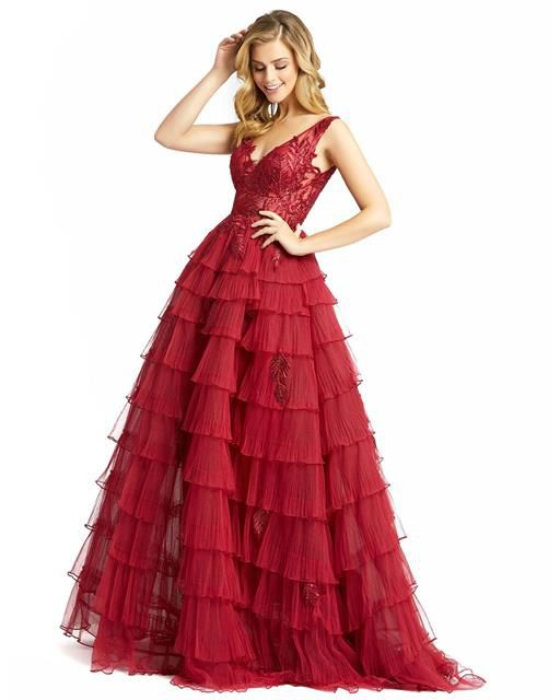 Style 20136 Mac Duggal Red Size 12 Quinceanera Backless Tall Height Ball gown on Queenly