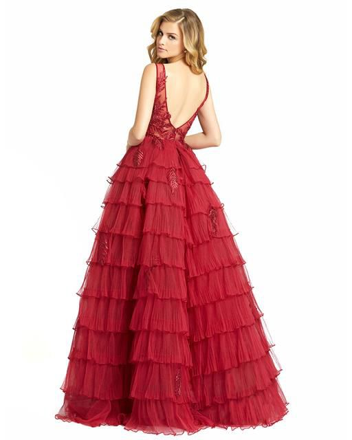 Style 20136 Mac Duggal Red Size 16 Quinceanera Backless Tall Height Ball gown on Queenly