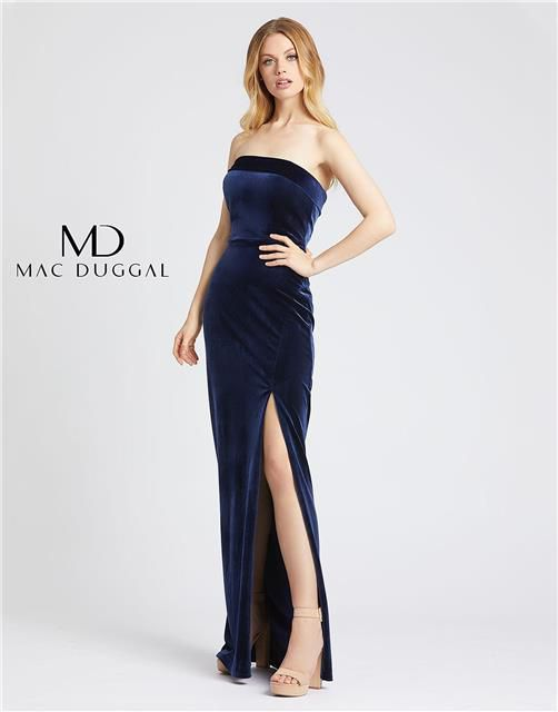 Style 25635 Mac Duggal Blue Size 12 Sorority Formal Tall Height Wedding Guest Side slit Dress on Queenly