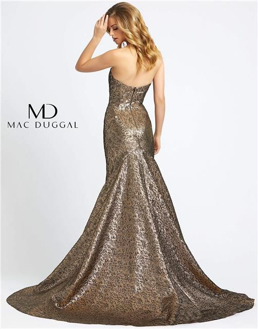 Style 66025 Mac Duggal Gold Size 18 Plus Size Tall Height Mermaid Dress on Queenly