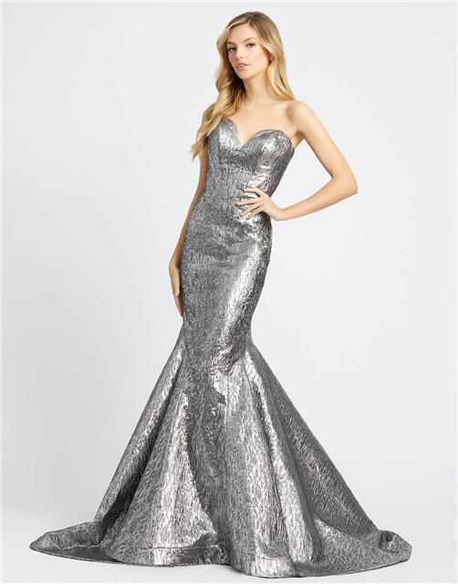 Style 66025 Mac Duggal Silver Size 4 Pageant Tall Height Mermaid Dress on Queenly