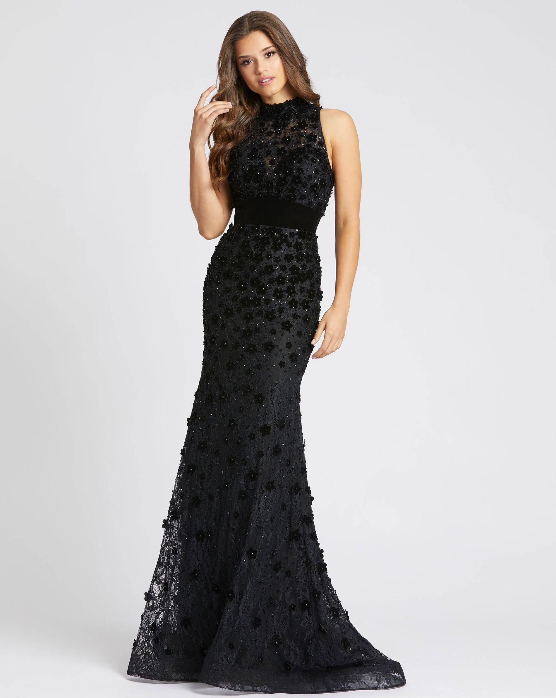 Style 66589 Mac Duggal Black Size 12 Sorority Formal Tall Height Wedding Guest Mermaid Dress on Queenly