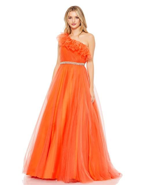 Style 67556 Mac Duggal Orange Size 6 Pageant Tall Height Ball gown on Queenly
