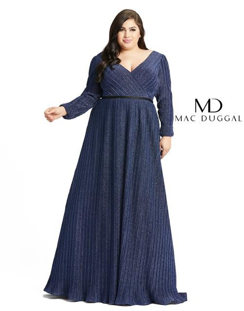 Style 48892 Mac Duggal Blue Size 18 Tall Height Wedding Guest Straight Dress on Queenly