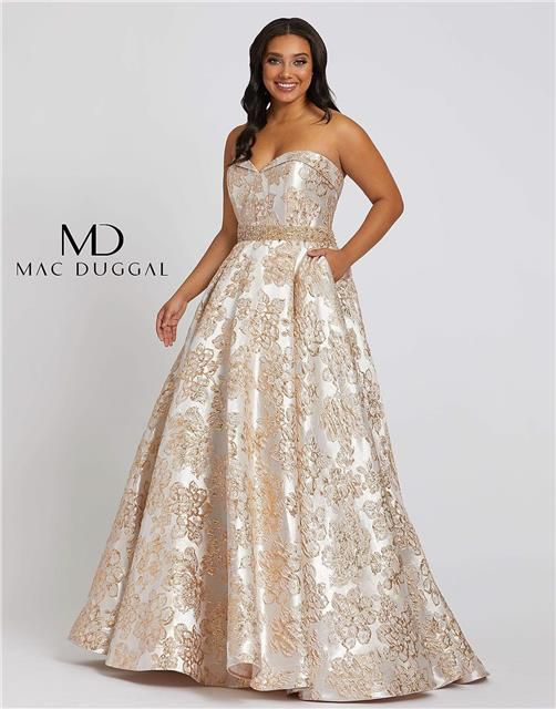 Style 67238 Mac Duggal Gold Size 14 Plus Size Tall Height Ball gown on Queenly