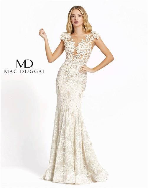 Style 79268 Mac Duggal White Size 4 Tall Height Lace Mermaid Dress on Queenly