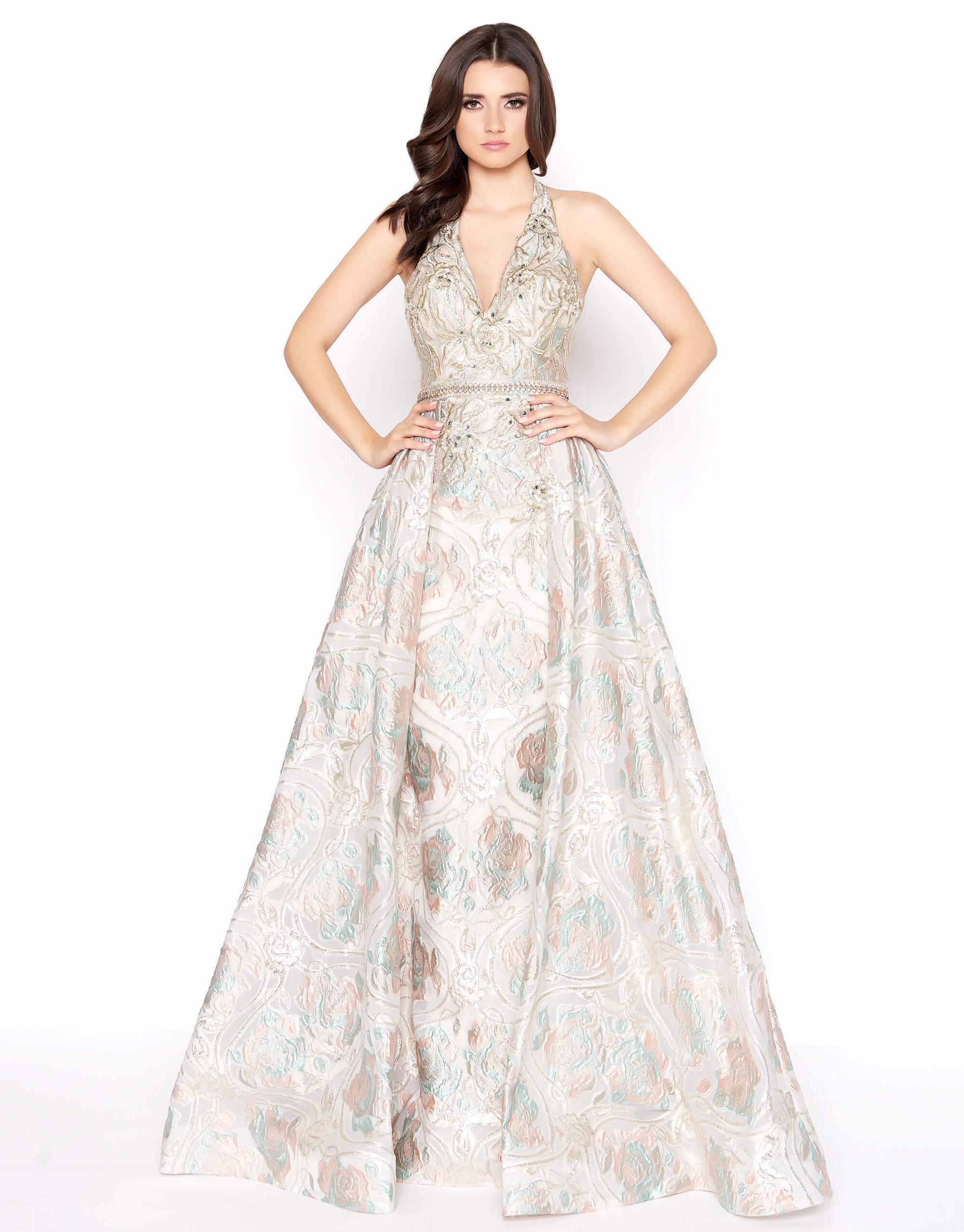 Style 79204 Mac Duggal Gold Size 6 Halter Tall Height A-line Dress on Queenly