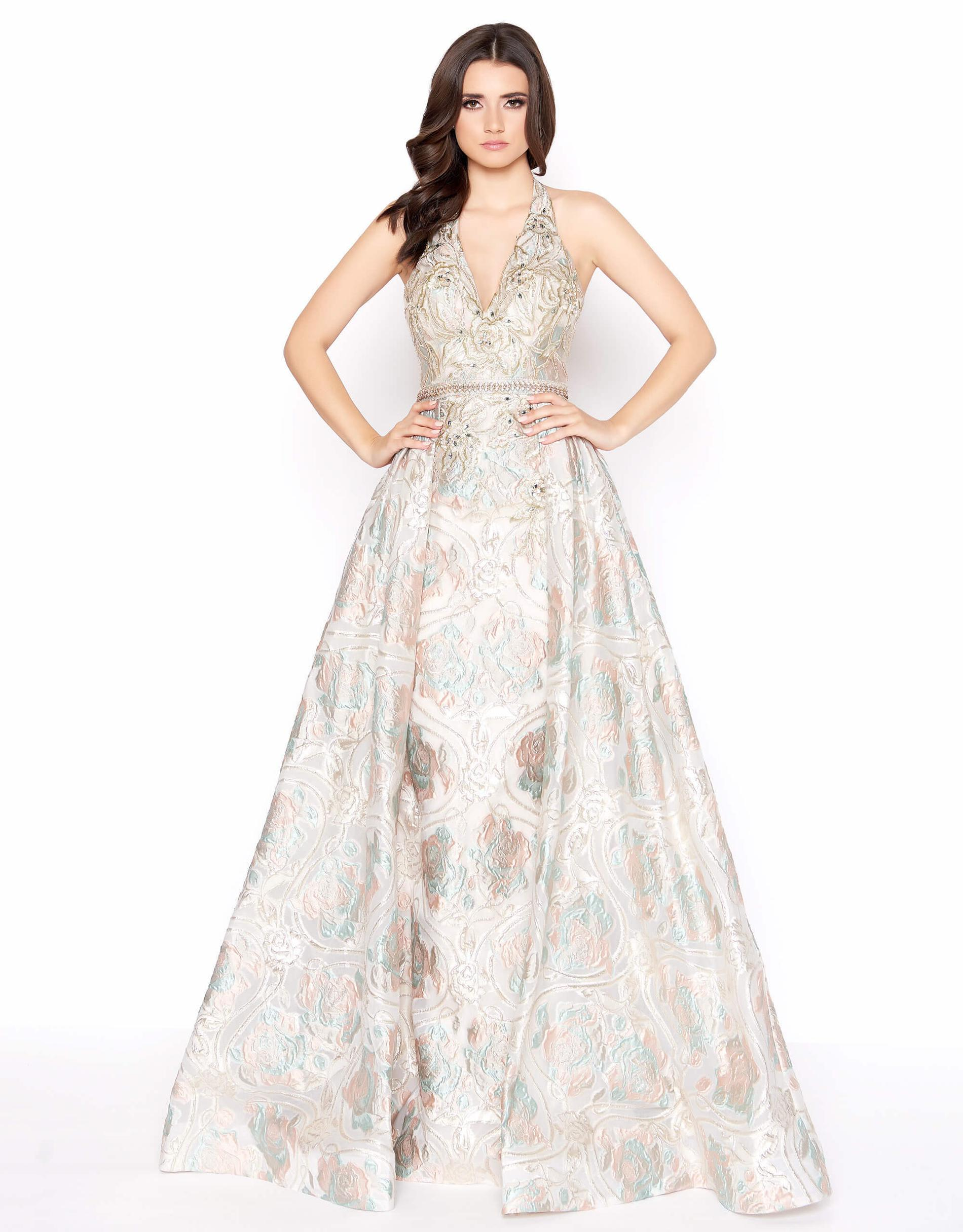 Style 79204 Mac Duggal Gold Size 10 Halter Tall Height A-line Dress on Queenly