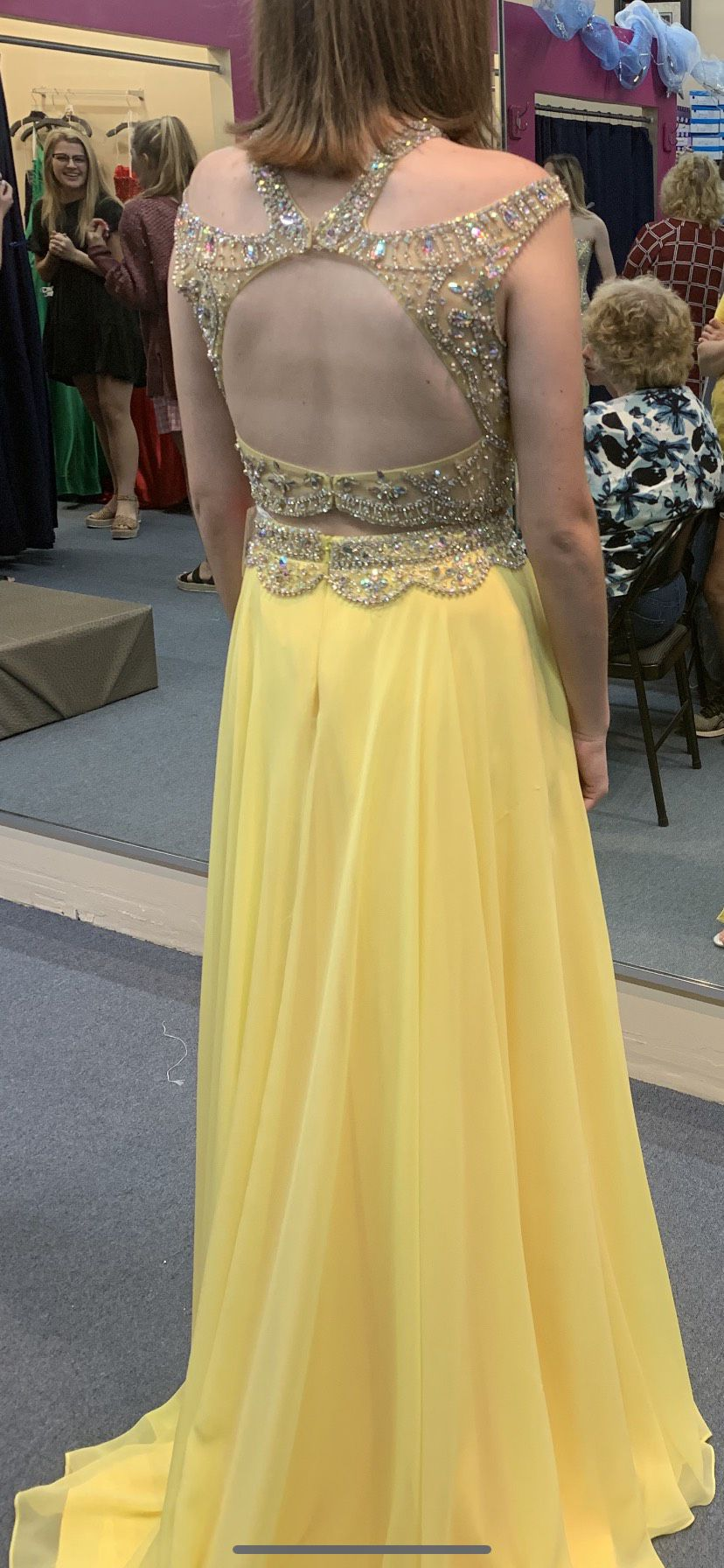 Tiffany Designs Yellow Size 6 Prom Side slit Dress on Queenly