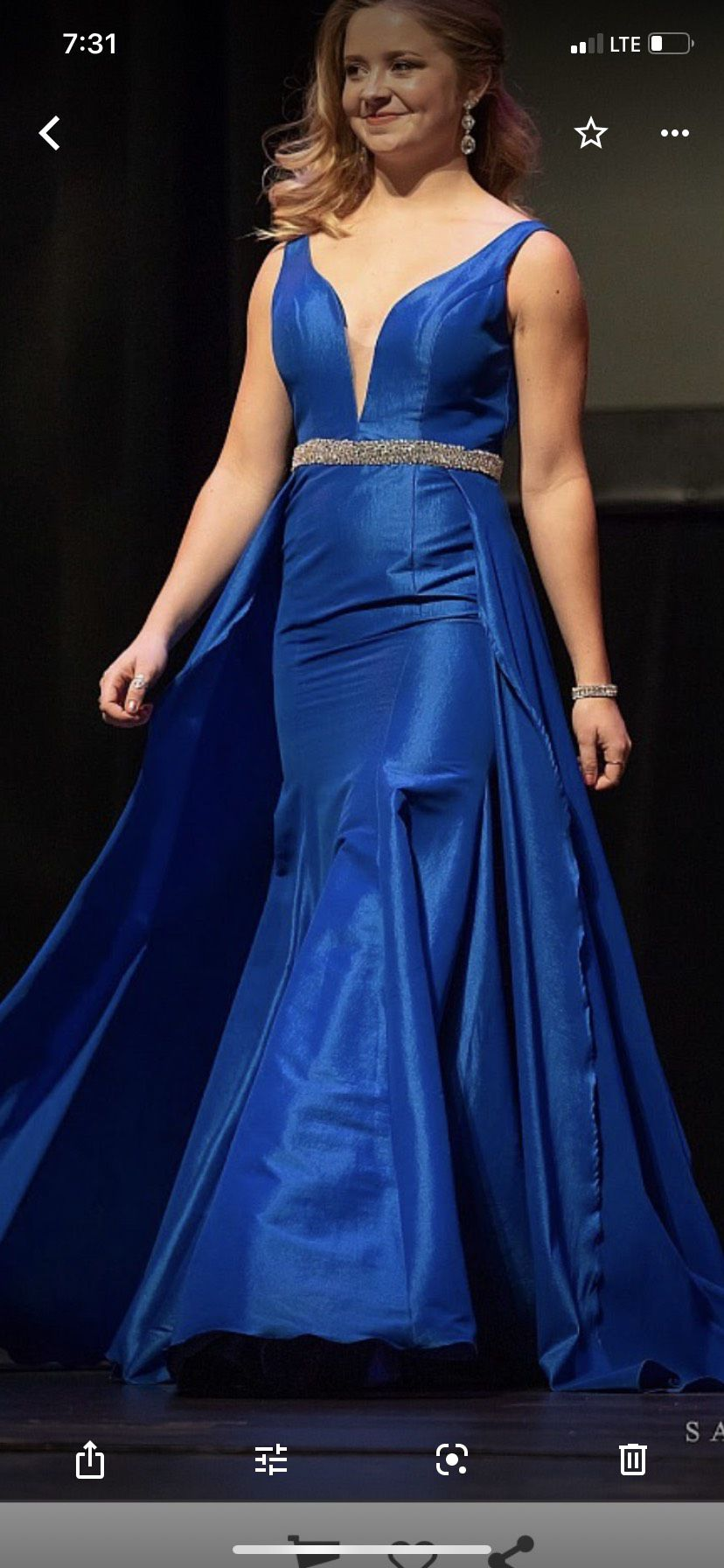Jovani Blue Size 4 Prom Pageant Train A-line Dress on Queenly