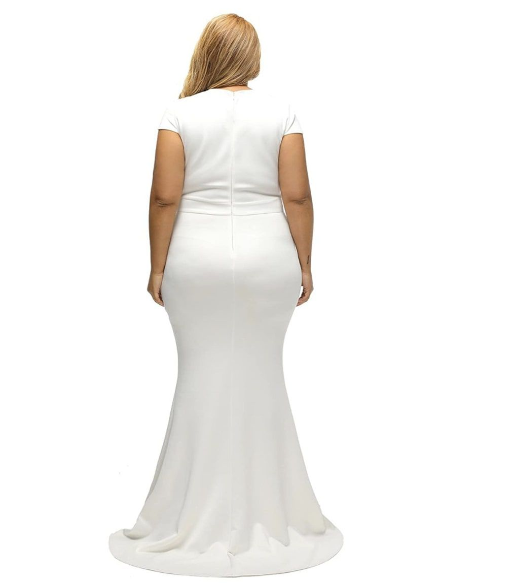 Style B076P5JVXR Lalagen White Size 18 Mini Plus Size Tall Height Mermaid Dress on Queenly