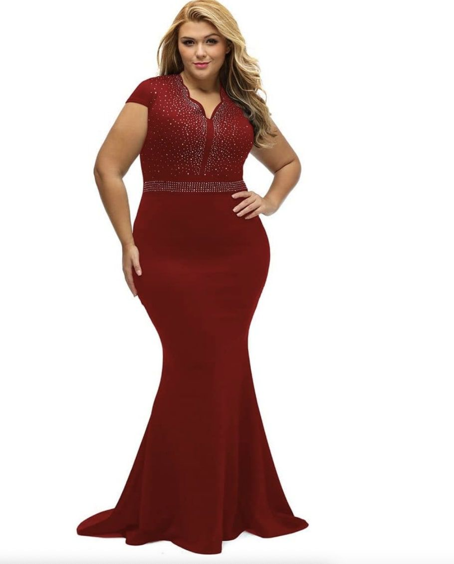 Style B076P5JVXR Lalagen Red Size 24 Plus Size Tall Height Wedding Guest Mermaid Dress on Queenly
