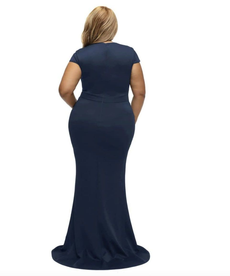 Style B076P5JVXR Lalagen Blue Size 18 Plus Size Tall Height Wedding Guest Mermaid Dress on Queenly